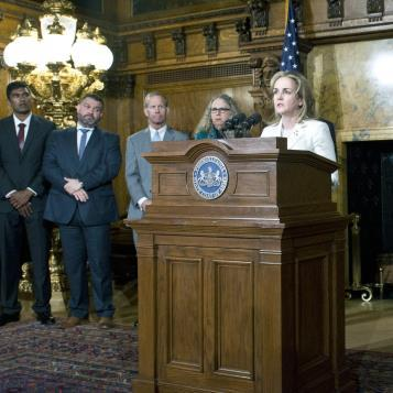 "Rep. Madeleine Dean announces the introduction of six new pieces of legislation related to the 'It's On Us PA"" campaign to protect Pennsylvania students from a nationwide epidemic of sexual violence."