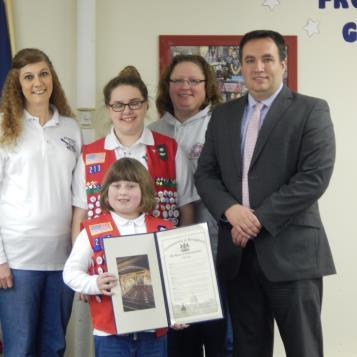 Rep. Burns presented a citation to Frontier Girls Troop 213, recognizing the organization's 10th anniversary as a group dedicated to raising women of honor to be the mothers and leaders of the future through life skills, leadership, character building, teamwork and service to others.  Standing in the back row are (from left): Cassidy Graham; Lori Shaw, leader; Molly Myers; Cori Adams, leader; and Rep. Burns.  Standing in front is Angela Beiswenger.