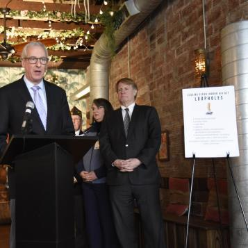 Rep. Dan Frankel speaks at a press event in Squirrel Hill to announce the introduction of legislation that would close loopholes in the Clean Air Act that allows smoking in outdoor spaces, casinos, private clubs and drinking establishments.