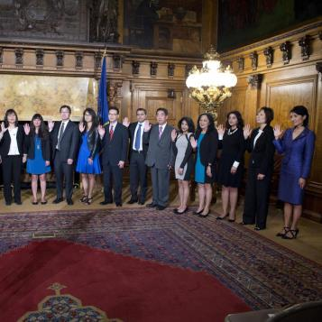 "Rep. Patty Kim is sworn-in as one of the five new community leaders to serve on Governor Tom Wolf's ""Commission on Asian Pacific American Affairs.""  The new commissioners, along with 16 returning commissioners, were sworn in by Acting Secretary of State Robert Torres.  The Governor's Advisory Commission on Asian Pacific American Affairs is responsible for advising the governor on policies and regulations that affect the Asian American and Pacific Islander community."