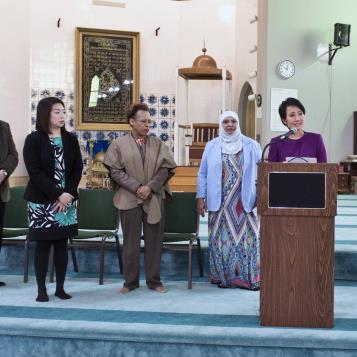 Rep. Patty Kim is joined by community and Islamic leaders at a news conference denouncing a hate letter sent to a Harrisburg mosque.