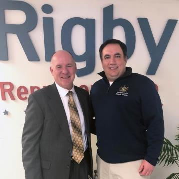 Rep. Frank Burns is pictured with his new Republican colleague, state Rep. Jim Rigby, at an open house for Rep. Rigby's Johnstown office.